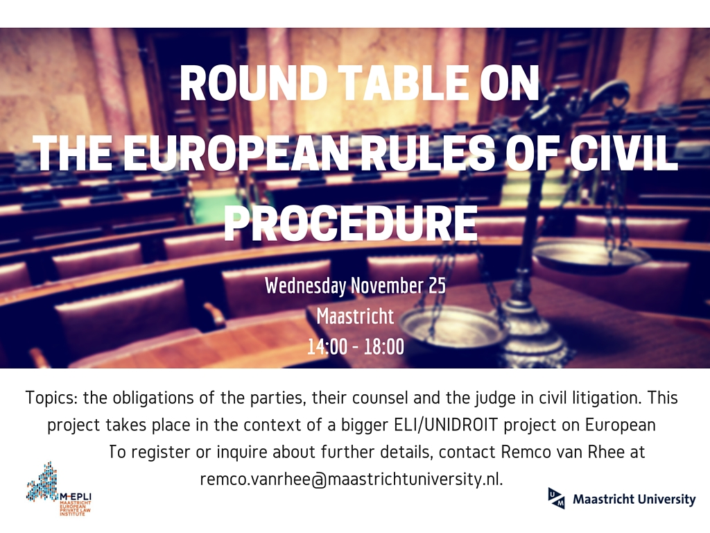 Round table on the european rules of civil procedure for 12 rules of the round table